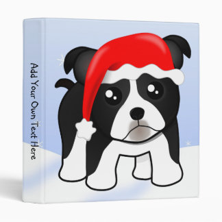 Cute Christmas Boston Terrier Puppy Dog Cartoon Binder