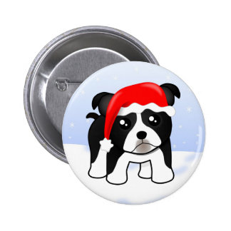 Cute Christmas Boston Terrier Puppy Dog Cartoon Button