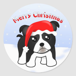 Cute Christmas Boston Terrier Puppy Dog Cartoon Classic Round Sticker