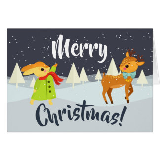 Cute Christmas Bunny and Deer Card