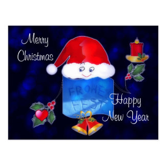Cute Christmas Candle Holder Postcard