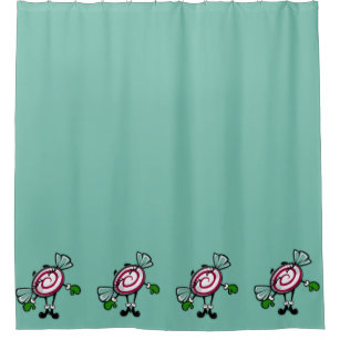 CUTE CHRISTMAS CANDY GIRL SHOWER CURTAIN
