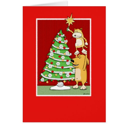 Cute Christmas card: Cat and Dog