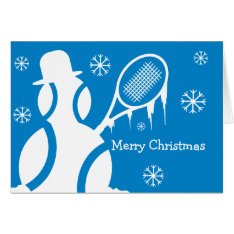 Cute Christmas Card For Tennis Players - Snowman at Zazzle