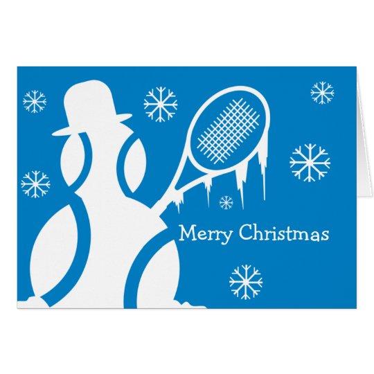 Cute Christmas card for tennis players - snowman