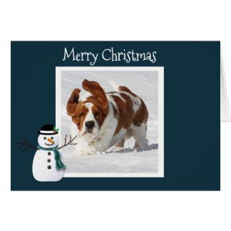 Cute Christmas Card w/Basset, Presents & House