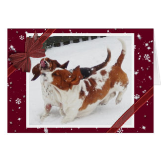 Cute Christmas Card with Basset Hounds in Snow
