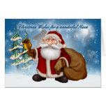 Cute christmas card with santa ringing bell