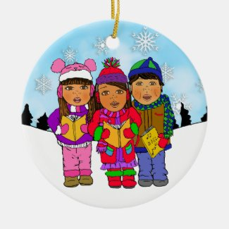 Cute Christmas Carolers Personalized Holiday Ceramic Ornament