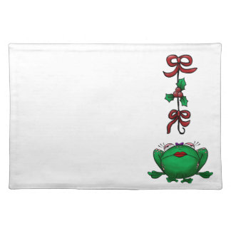 Cute Christmas Cartoon Frog Cloth Placemat