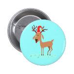 Cute Christmas Cartoon Reindeer Button