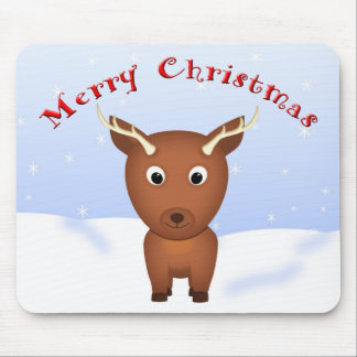 Cute Christmas Cartoon Reindeer in the Snow Mouse Pad