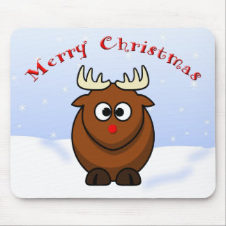 Cute Christmas Cartoon Rudolf  Red Nose Reindeer Mouse Pad