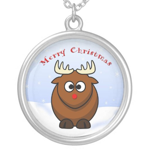 Cute Christmas Cartoon Rudolf  Red Nose Reindeer Silver Plated Necklace