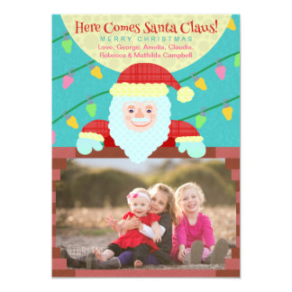 Cute Christmas Cartoon Santa Claus Custom Photo Card