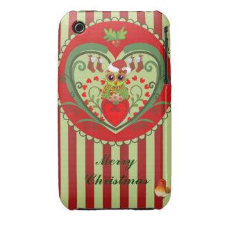 Cute Christmas case with Santa cartoon Owl & text iPhone 3 Cover