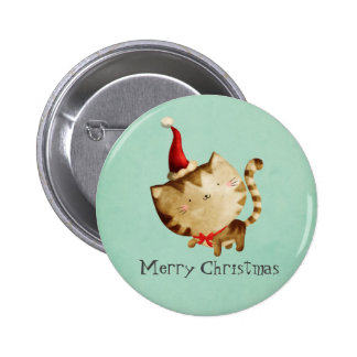 Cute Christmas Cat Button
