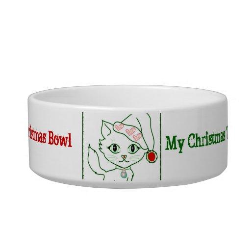 Cute Christmas Cat food bowl