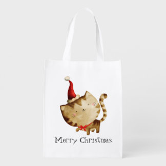 Cute Christmas Cat Market Totes