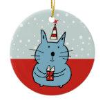 Cute Christmas Cat Ornament (Circle)