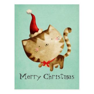 Cute Christmas Cat Postcard