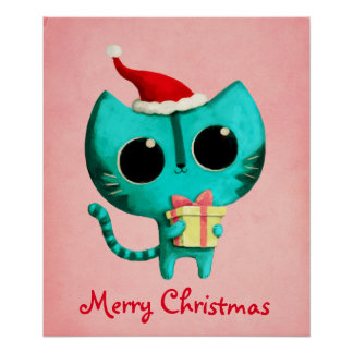 Cute Christmas Cat Poster