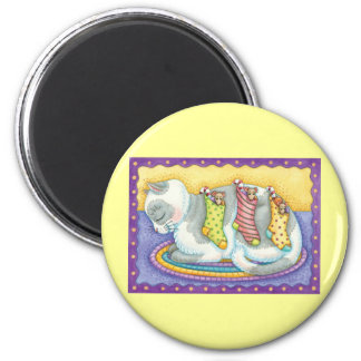 Cute Christmas Cat Sleeping with Mice in Stockings Magnet