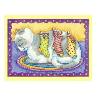 Cute Christmas Cat Sleeping with Mice in Stockings Post Card