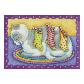 Cute Christmas Cat Sleeping with Mice in Stockings Posters