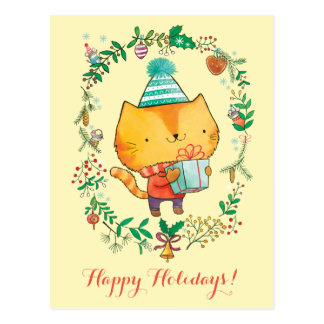 Cute Christmas cat with big gift box Postcard