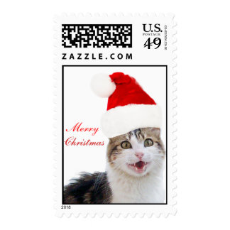 CUTE CHRISTMAS CAT WITH SANTA CLAUS HAT STAMP