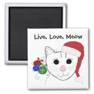 Cute Christmas Cat with Saying 2 Inch Square Magnet