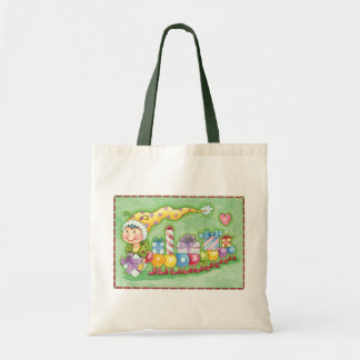 Cute Christmas Caterpillar Train with Presents Tote Bag