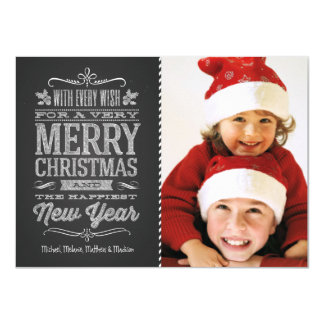 Cute Christmas Chalkboard Photo Template Card Personalized Invite
