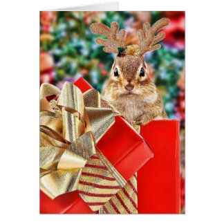 Cute Christmas Chipmunk Card