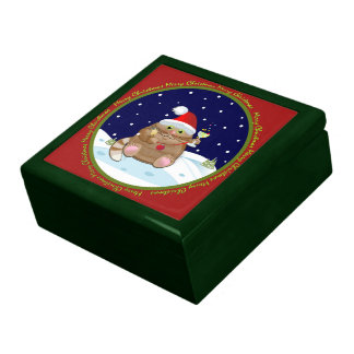 Cute Christmas cocktail cat & text gift box