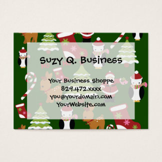 Cute Christmas Collage Design with Santa Business Card