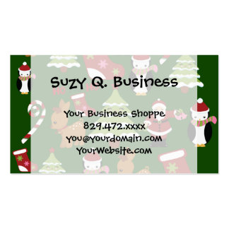 Cute Christmas Collage Design with Santa Business Card Template