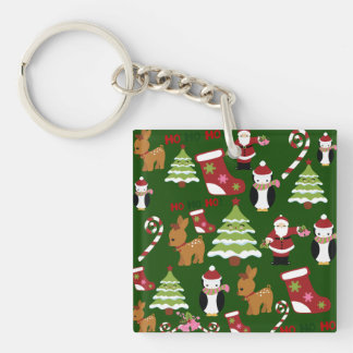 Cute Christmas Collage Design with Santa Keychain