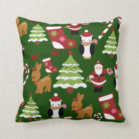 Cute Christmas Collage Design with Santa Pillow