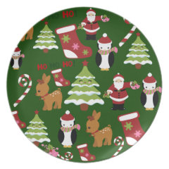 Cute Christmas Collage Design with Santa Party Plate