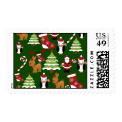 Cute Christmas Collage Design with Santa Postage Stamp