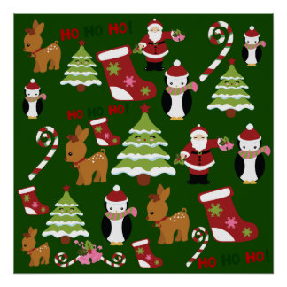 Cute Christmas Collage Design with Santa Poster