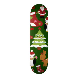 Cute Christmas Collage Design with Santa Skate Board Deck