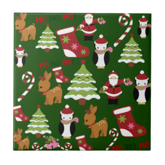 Cute Christmas Collage Design with Santa Tile