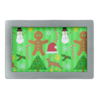 Cute Christmas Collage Holiday Pattern Rectangular Belt Buckles