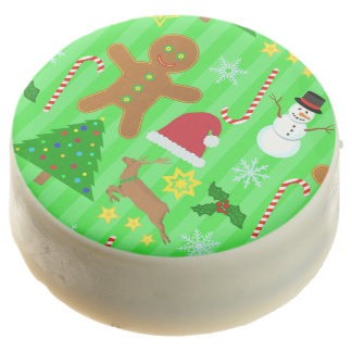 Cute Christmas Collage Holiday Pattern Chocolate Covered Oreo