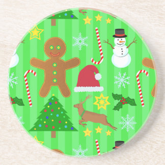 Cute Christmas Collage Holiday Pattern Coasters