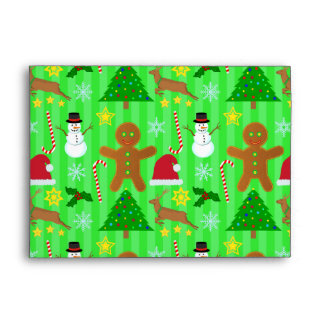 Cute Christmas Collage Holiday Pattern Envelopes