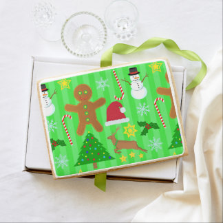 Cute Christmas Collage Holiday Pattern Jumbo Shortbread Cookie